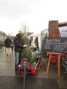 Bolle fährt CO2-frei Weihnachtsbäume bei der Aktion von NaLa e.V. 2017, Foto Cathrin Tanner